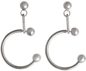 Burberry Crystal Charm Palladium-plated Hoop Earrings