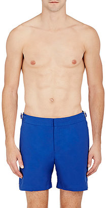 Orlebar Brown Men's Solid Bulldog Swim Trunks-Blue $240 thestylecure.com