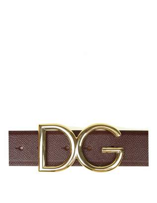 Dolce & Gabbana Bordeaux Leather Belt And Buckle With Logo
