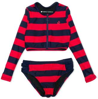 Perfect Moment Kids striped rash-guard bikini