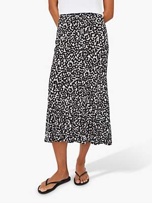 Warehouse Abstract Midi Skirt, Black