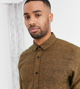 Asos Design DESIGN Tall regular fit flannel marl shirt in brown