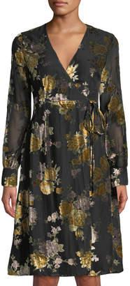 Astr Sonya Wrap-Front Dress with Velvet Floral Pattern