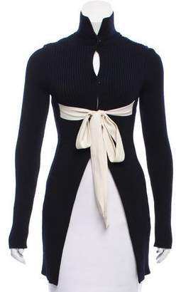 Celine Rib Knit Turtleneck Cardigan