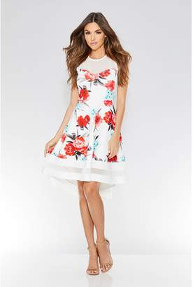 Quiz Cream Coral And Aqua Floral Dip Hem Dress