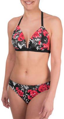 Point Zero Floral Print Adjustable Strap Bikini Top