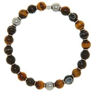 LINK-UP Tiger's Eye, Onyx, & Hematite Stretch Bracelet
