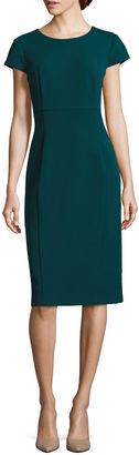 LIZ CLAIBORNE Liz Claiborne Cap-Sleeve Midi Sheath Dress $72 thestylecure.com