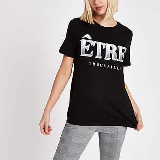River Island Womens Black 'etre' front print T-shirt