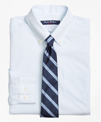 Brooks Brothers Boys Non-Iron Supima Cotton Broadcloth Mini Stripe Dress Shirt