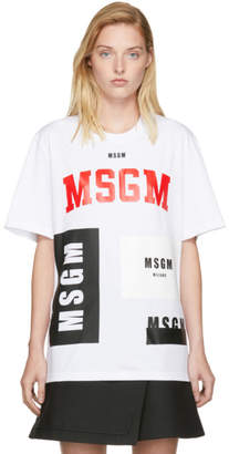 MSGM White Multi Logo T-Shirt