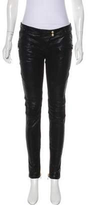 Balmain Mid-Rise Leather Pants