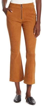 Frame Zip Lamb Suede Cropped Flare Pants