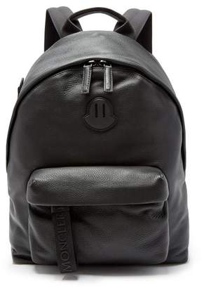 Moncler Logo Patch Leather Backpack - Mens - Black