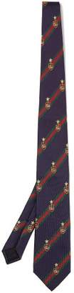 Gucci Striped Silk Blend Tie - Mens - Navy Multi
