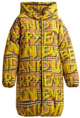 Burberry Graffiti Print Oversized Puffer Coat - Womens - Yellow
