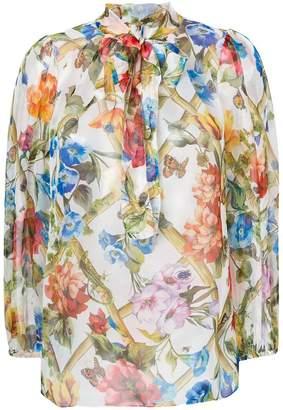 Dolce & Gabbana floral print sheer blouse