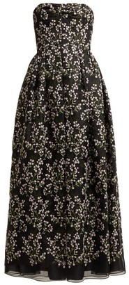 Erdem Karenna Deep Sea Embroidered Organza Gown - Womens - Black Pink