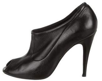 Calvin Klein Collection Leather Peep-Toe Booties
