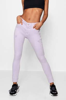 boohoo Poppy Lilac Distressed Skinny Jeans