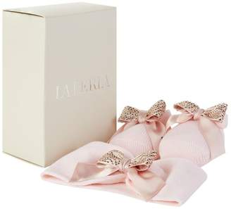 La Perla Diamanté Bow Slippers and Headband Set