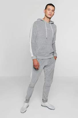 boohoo MAN Signature Velour Hooded Tracksuit With Panel