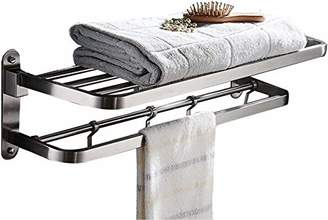 Ello&Allo Stainless Steel Towel Racks for Bathroom Shelf Double Towel Bar Holder with Hooks Wall Mounted Multifunctional Foldable Brushed Nickel