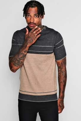 boohoo Short Sleeve Colour Block Knitted T-Shirt