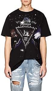 Balmain Men's Galaxy-Print Distressed Cotton T-Shirt - Black
