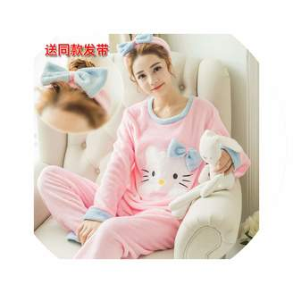 Pickin Pajama Sets Winter Flannel Pajama Sets Cartoon Pyjamas Women Homewear Animal Sleepwear Female Pajama