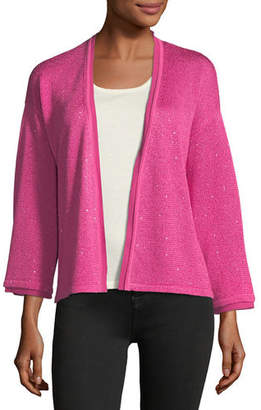 Neiman Marcus Sequin Silk/Cashmere Open Cardigan