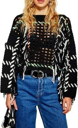 Topshop Fringe Crochet Sweater