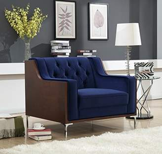 Iconic Home Clark Modern Contemporary Velvet Tufted Swoop Arm Sofa with Walnut Finish Silvertone Chrome Legs