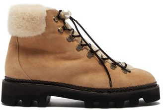Nicholas Kirkwood Delfi Shearling And Suede Hiking Boots - Womens - Beige