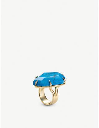 Kendra Scott Megan gold-tone and aqua howlite ring