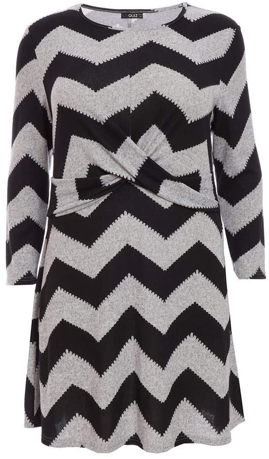 Curve Black And Grey Zig Zag Knit Dress