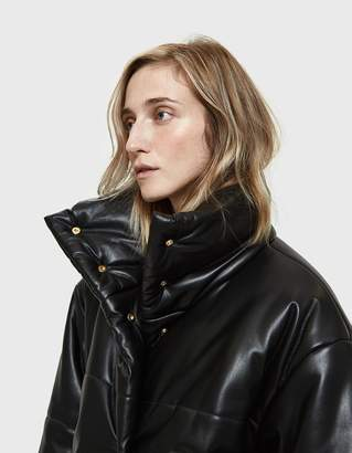 Nanushka Hide Vegan Leather Puffer Coat in Black