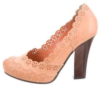 Philosophy di Alberta Ferretti Leather Laser-Cut Pumps
