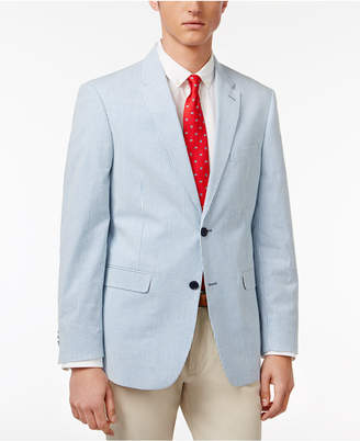 Tommy Hilfiger Men's Slim-Fit Blue and White Seersucker Stretch Performance Sport Coat $295 thestylecure.com