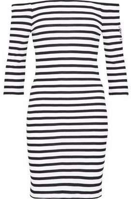 Zoe Karssen Off-The-Shoulder Embroidered Striped Waffle-Knit Mini Dress