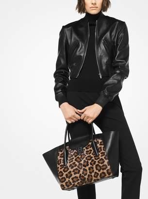 Michael Kors Bancroft Medium Leopard Calf Hair and Leather Satchel