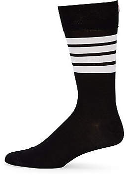 Thom Browne Men's Mid-Calf Stripe Socks
