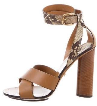 Gucci Snakeskin-Trimmed Multistrap Sandals