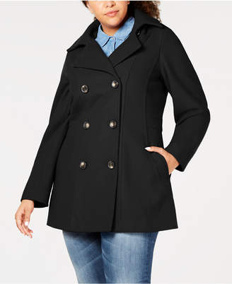 Nautica Plus Size Hooded Double-Breasted Peacoat