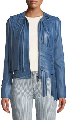 Nour Hammour Collarless Draped Fringe Stretch Lambskin Leather Biker Jacket