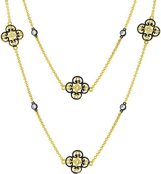 Genevive 14K & Rhodium Over Silver Cz Necklace