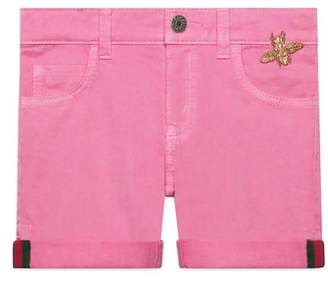 Gucci Pink Denim Cuffed Shorts