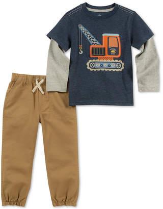 Kids Headquarters Little Boys 2-Pc. Crane Graphic Top & Jogger Pants Set