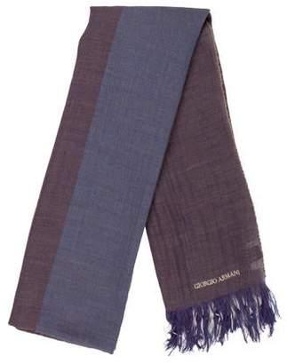 Giorgio Armani Linen & Wool-Blend Striped Scarf