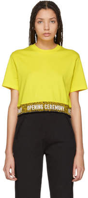 Opening Ceremony Yellow Elastic Logo Crop T-Shirt